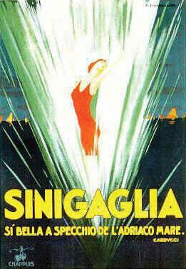 Senigallia, Riviera Adriatica (Italy) Vintage travel poster art deco #beach #affiche www.varaldocosmetica.it/en | olive oil cosmetics from the Riviera .
