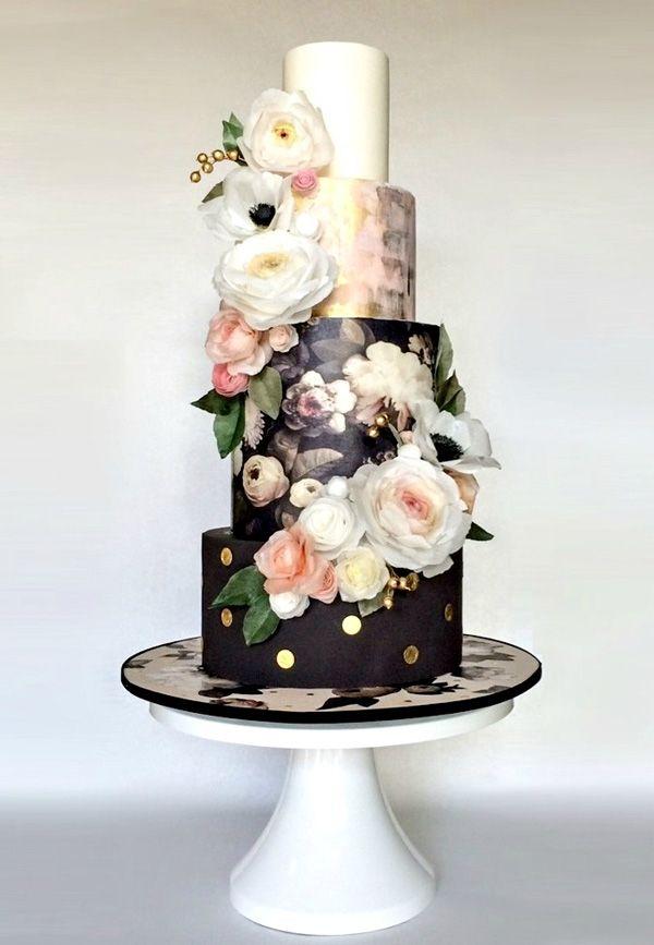 Floral Black Wedding Cake