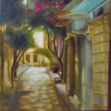 "Saatchi Art Artist ΑγγελικΗ  Aggeliki; Painting, ""Βougainvillea"" #art 40X40cm, oil on canvas"
