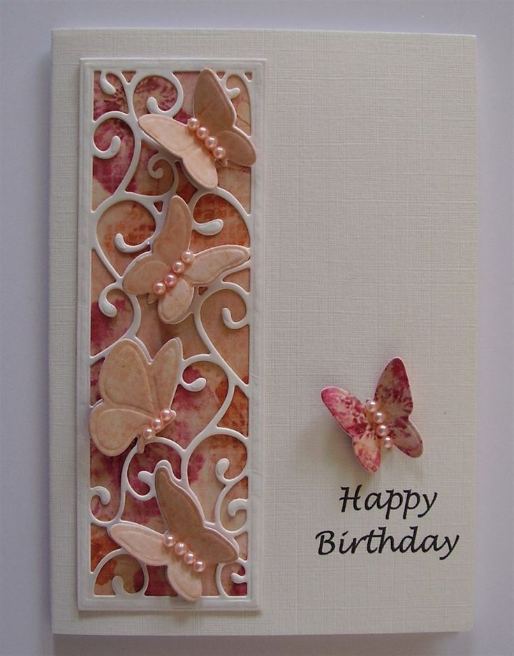 birthday card using sue wilson butterfly striplet die