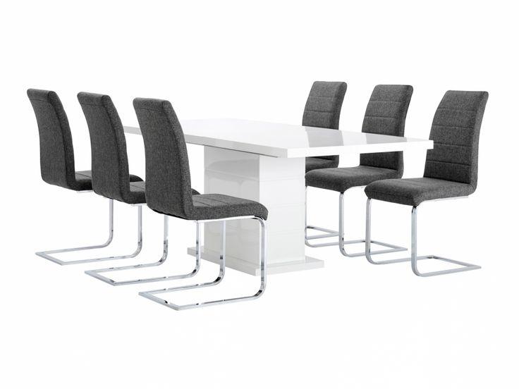 KULMBACH Bord 180 Vit + 6 EMÅN Stol Grå i gruppen Inomhus / Stolar / Matgrupper hos Furniturebox (100-46-85883)