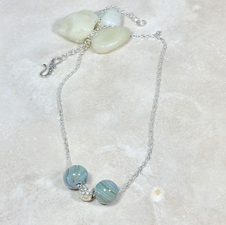 Glass bead necklace, minimalist necklace, boho necklace, handmade glass beads, lightweight necklace, necklace gift, unisex necklace
