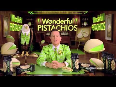 Check out Stephen Colbert's Superbowl commercial spots for Wonderful Pistachios.