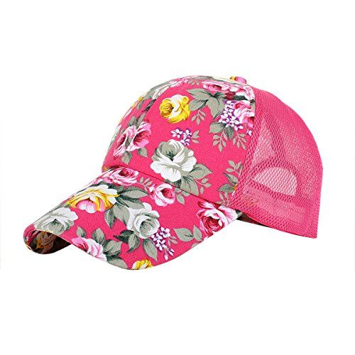 Eforstore Snapback Baseball Cap Floral Perforated Ball Caps Golf Hats Summer Mesh Hat for Women Teens Girls Hot Pink - http://todays-shopping.xyz/2016/06/14/eforstore-snapback-baseball-cap-floral-perforated-ball-caps-golf-hats-summer-mesh-hat-for-women-teens-girls-hot-pink/