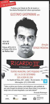 "Agenda Cultural RJ: ""Ricardo III"", obra de William Shakespeare - Monól..."
