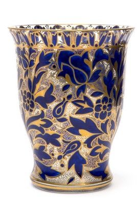 Julius Mühlhaus & Co. Haida A partly blue enamelled and gilt glass vase with floral decoration, circa 1910.