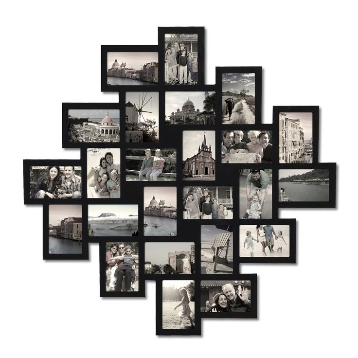 """Features:  -Matte black finish.  -Materials: Wood, plexiglass.  -Holds 24 - 4"""" x 6"""" images.  -Easy to hang with attached hooks.  Style: -Contemporary.  Color: -Black.  Material: -Other/Wood.  Theme: -"""