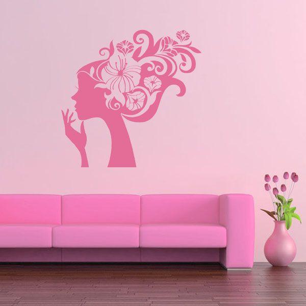 Girls Wall Art | Pretty Flower Girl Wall Sticker Decal Art Part 72