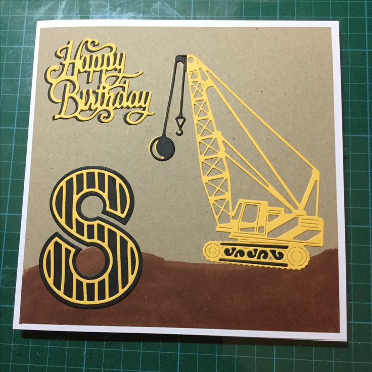 Boys birthday card with crane