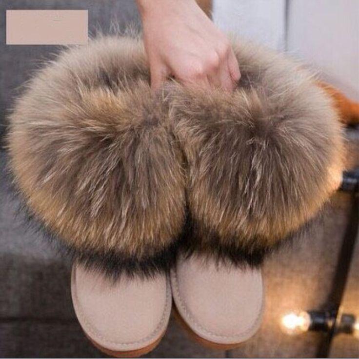 <b>G&Zaco Luxury</b> Winter Natural Fox <b>Fur</b> Snow Boots Real Wool Insde ...
