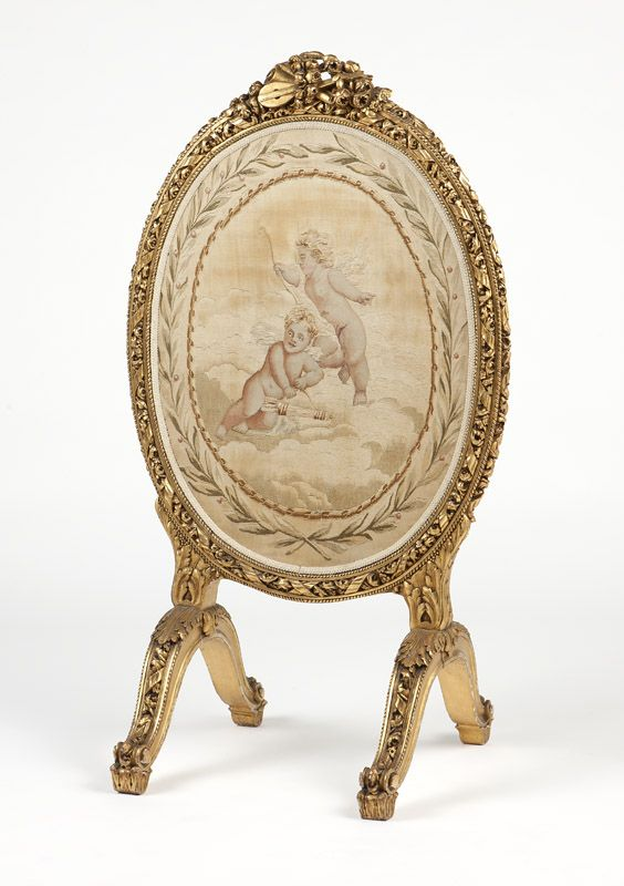 French Aubusson tapestry and giltwood fire screen
