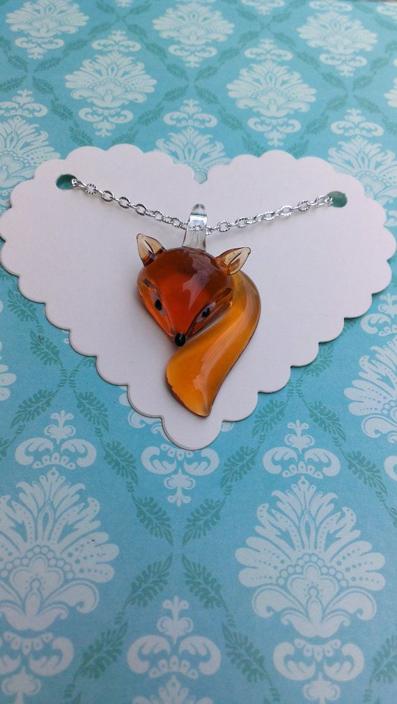 """Fox necklace - gorgeous glass orange fox pendant on 18"""" silver plated chain necklace valentines fox gift"""