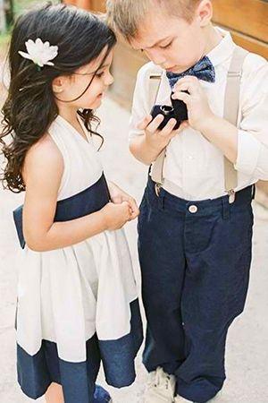 Flower Girl and ring bearer navy white beach wedding
