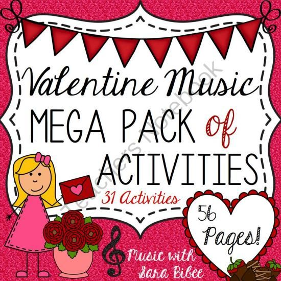 Valentine Music Activities- Mega Pack- 31 Activities! 56 Pages from Music with Sara Bibee on TeachersNotebook.com -  (56 pages)  - This is a zip file containing 56 Pages of 31 Valentine-themed activities, along with two reference sheets to help student learning. All of the activities are focused around basic music theory, such as note identification (treble and bass), note and rest d