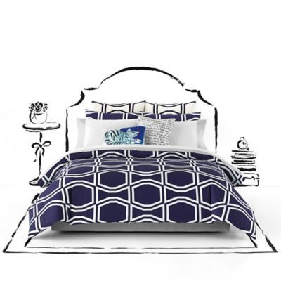Buy kate spade new york Bow Tile Full/Queen Comforter Set in Navy from Bed Bath & Beyond