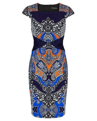 PAISLEY JERSEY DIGITAL PRINT MIRROR PLACEMENT DRESS