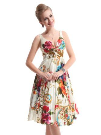 Ever Pretty Double V-neck Floral Printed Satin Short NWT Party Dress 03381 REVIEW