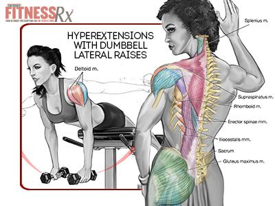 {  REMODELING YOUR BACK:  HYPEREXTENSIONS WITH DUMBBELL LATERAL RAISES  }  #FitnessRxForWomenMagazine ....... Protect yourself from injury by Remodeling Your BACK using HYPEREXTENSIONS with DUMBBELL LATERAL RAISES. Here's how -->  http://www.fitnessrxwomen.com/training/workout-tips-advice/remodeling-your-back/
