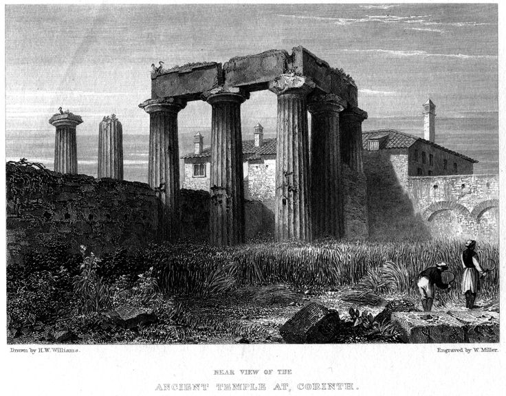 Hugh William Williams (1773-1829)-Ancient Temple at Corinth_engraving by William Miller (1796–1882)