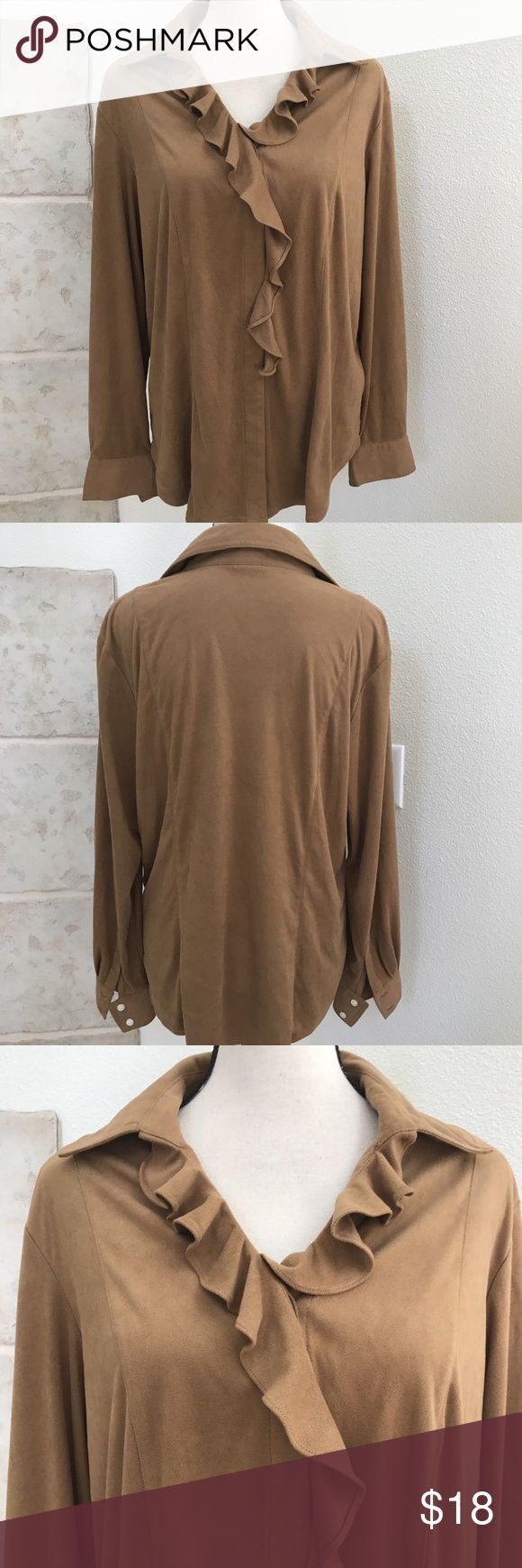 """🍀🍀INC Woman Ruffle Micro Suede Feel Blouse 14W INC International Concepts Woman Micro Suede Feel Ruffle Blouse size 14W.  100% Polyester.   STYLE: Ruffle Blouse   COLOR: Brown   SIZE: 14W   CONDITION: Great conditions with no signs of wear, one missing button, no holes, rips.  MEASUREMENTS: LAYING FLAT: Length- 26.5""""   Shoulder to shoulder- 17.5"""" Armpit to Armpit(across)- 22"""" Waist(across)- 21"""" Armhole Depth- 22""""  HWA Pants 1 INC International Concepts Tops Blouses"""