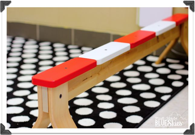 inexpensive ikea balance beam is perfect for extra seating. Black Bedroom Furniture Sets. Home Design Ideas