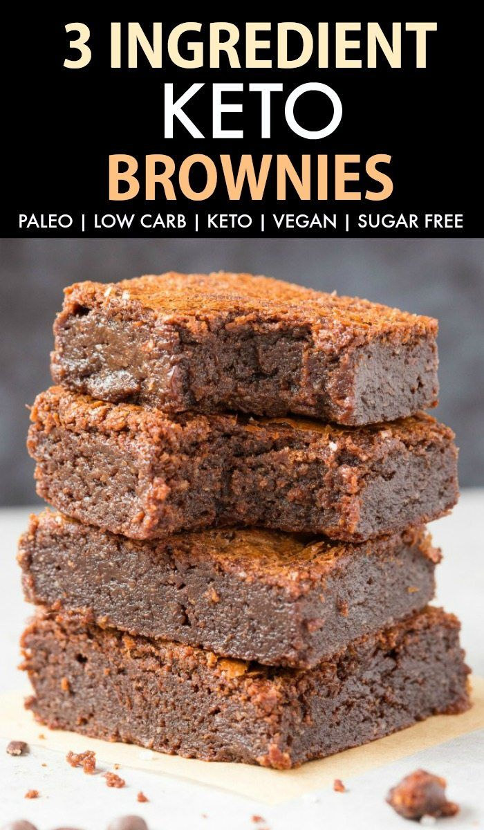 Easy 3 Ingredient Keto Low Carb Brownies Paleo Vegan Sugarfree Keto Dessert Easy Keto