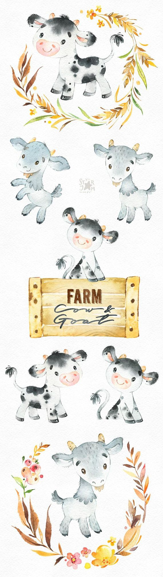 This Farm Cow & Goat watercolor set is just what you needed for the perfect invitations, craft projects, paper products, party decorations, printable, greetings cards, posters, stationery, scrapbooking, stickers, t-shirts, baby clothes, web designs and much more. :::::: DETAILS ::::::