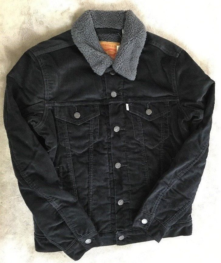 Details About New Mens Levis Sherpa Trucker Jacket Green Corduroy