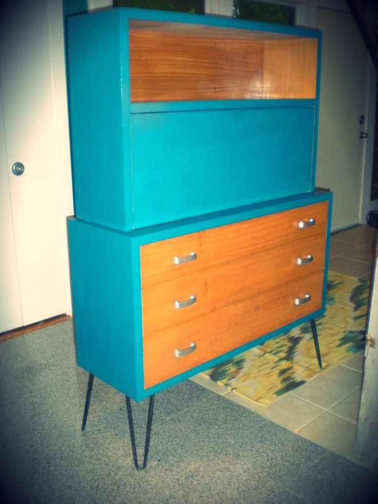 Mid Century Painted Furniture | Mid Century Secretary Desk Painted With  Pantone Paint Ocean Depths