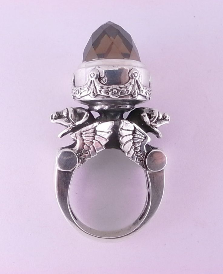 Sterling silver winged Gargoyle Urn ring with Cubic Zirconia. William LLewellyn Griffiths. Metal Couture Jewelry. Melbourne. (Etsy)