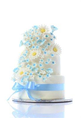 Mooi aan deze taart: blauw lint en lieve uitstraling door (verse?) madeliefjes, vergeet-me-nietjes