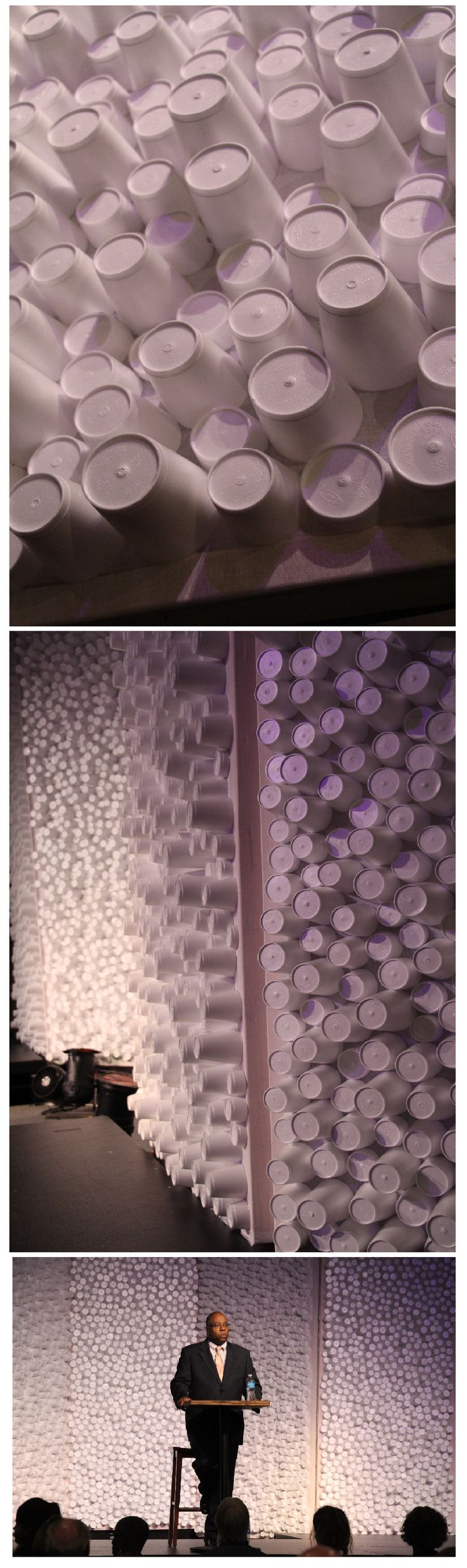 Styrofoam cups get a new life as a stage background.