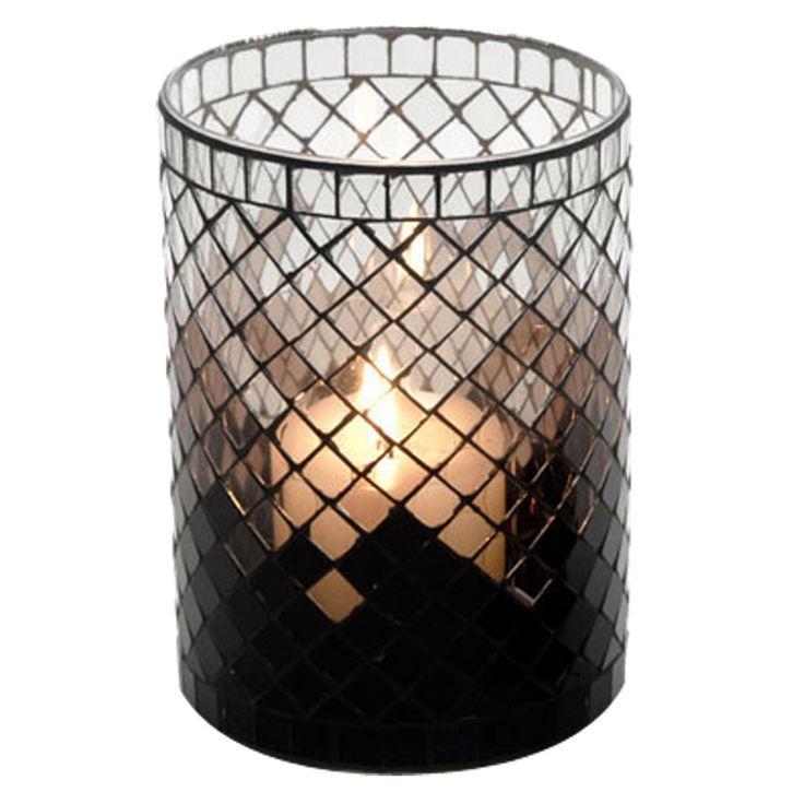 Mosaic Glass Candle Holder | Black | 9x15cm by A Decorator's Haven on POP.COM.AU