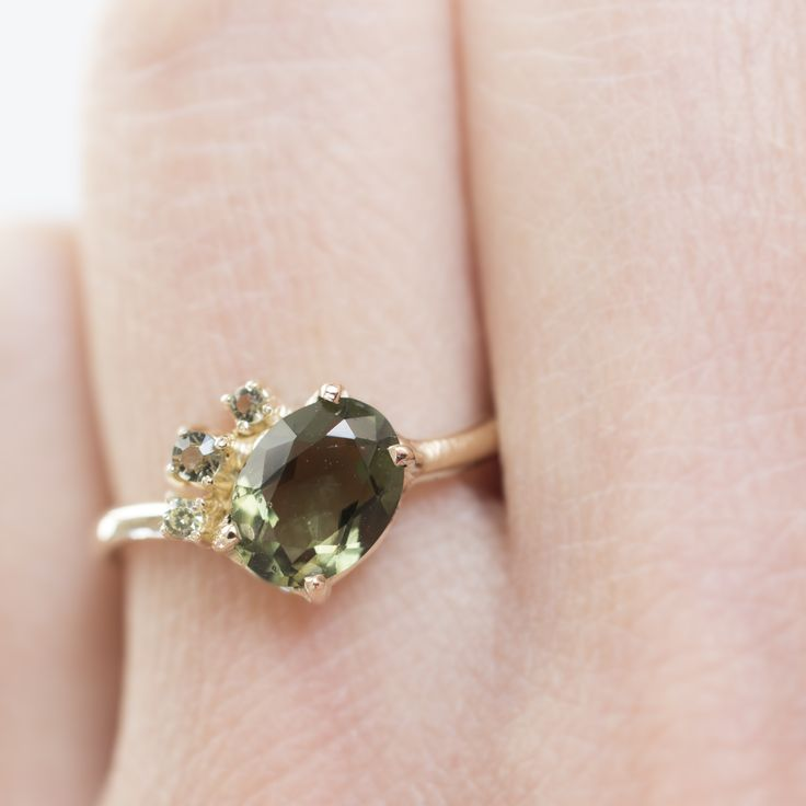 Moldavite cluster ring - made to order by 27JEWELRY from yellow gold / the laid-back engagement ring