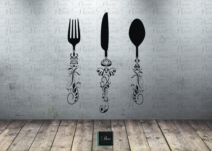 Kitchen Wall Decal - Knife Spoon Fork Wall Decal - Dining Room Large wall decal Vinyl sticker Knife Spoon Fork Wall Art buffet dining table by RINOhomedecor on Etsy