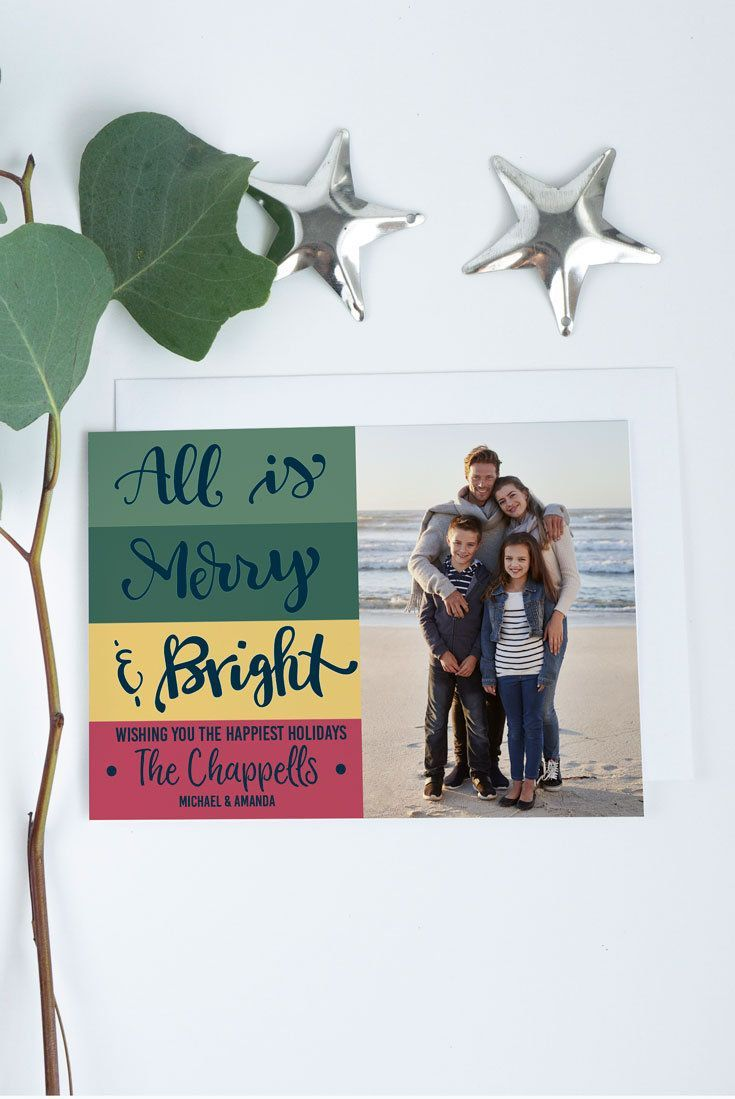 Merry and Bright Christmas Photo Card, Personalized Year in Review ...