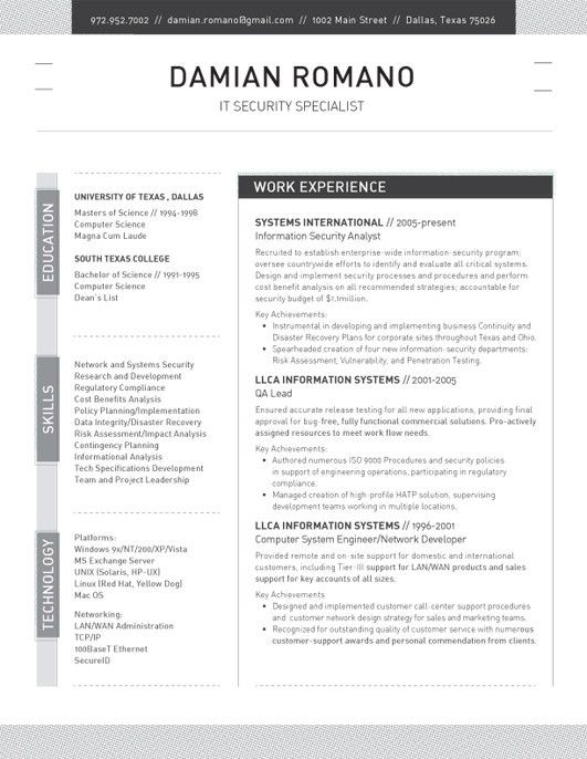 17 best Resume Templates images on Pinterest Professional resume - security analyst sample resume