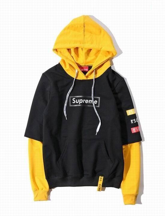 7f4f0e2d77a Supreme Black Sleeve Splicing Yellow Pullover Embroidery Fleece Hoodie # supreme #fashion #menswear