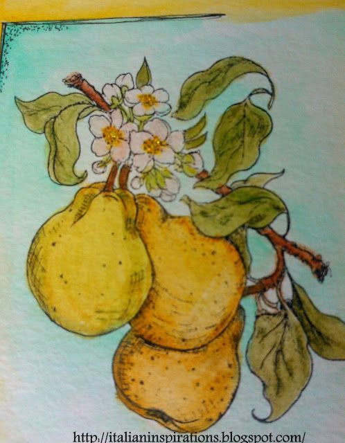 Emilia's Italian Inspirations: My art journal: pears coloured with Inktense pencils