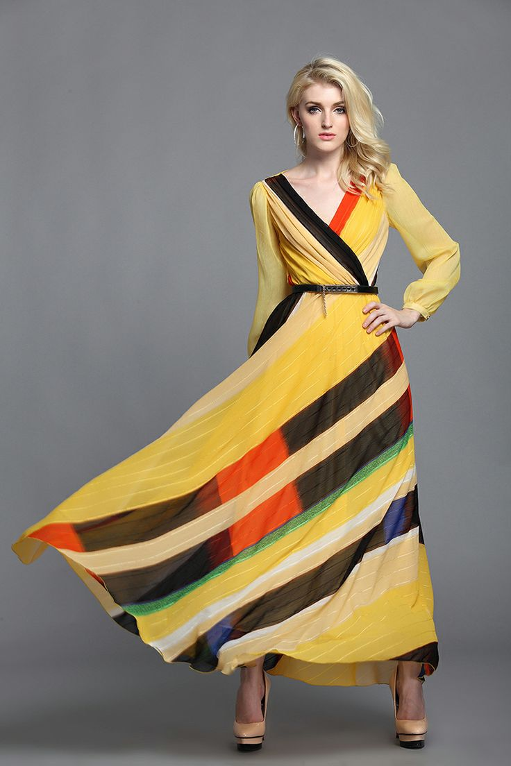 Printrd Striped Yellow Sleeved Maxi Dress     Design is important, and this one is perfect.    2013 autumn long sleeve bohemia full maxi dress ankle / floor length plu size women formal evening dresses yellow size L XL 2XL on Aliexpres...   tags: hijab, hijab style, hijab fashion