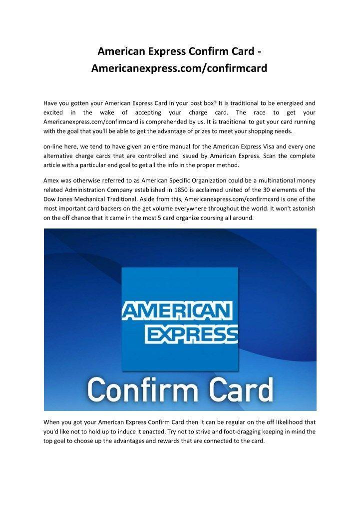 American Express Confirm Card - Americanexpress com