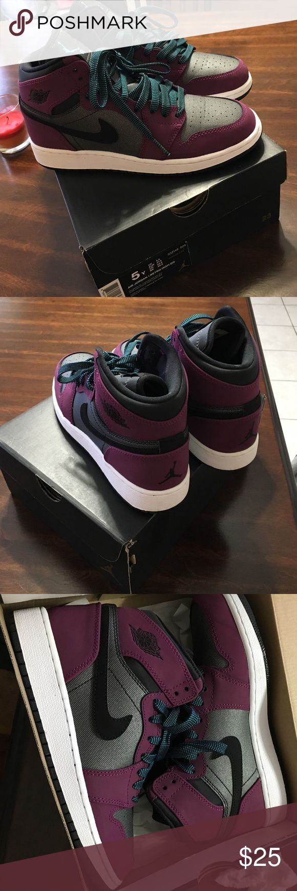 Air Jordan 1 retro high GG (size 5) They are a mulberry color dark grey and black with baby blue and black shoe laces Jordan Shoes Sneakers
