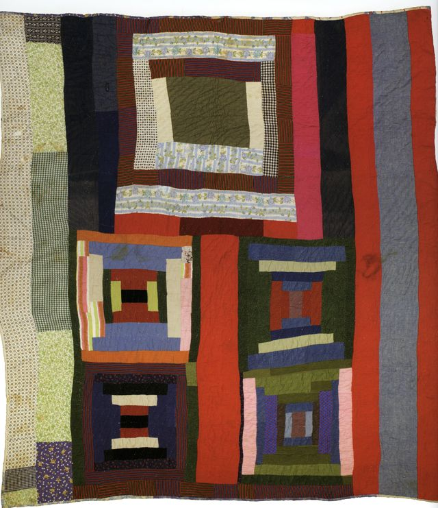 """Housetop and Bricklayer blocks with bars; c. 1955; made by Lucy T. Pettway; 90"""" x 78""""; cotton, corduroy, cotton knit, flannel, and even weave; photo by Pitkin Studio, courtesy of Matt Arnett"""