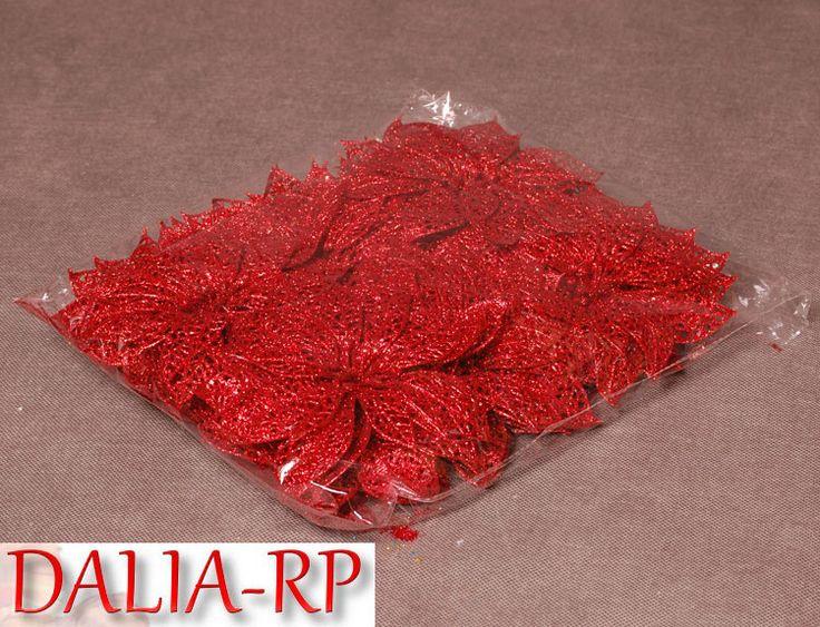 Poisencja ażurowa czerwona 24szt na choinkę