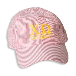 Chi Omega Seersucker Baseball Hat. www.sassysorority.com  #basdeballhat #seersucker #xo #chiomega, #suckersforseersucker #sassysorority #monogram #bidday #biglittlegift #sororityletters