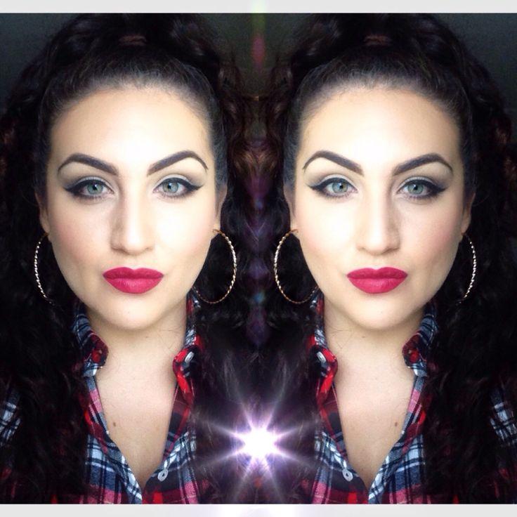 Latina red lipstick winged liner makeup vintage
