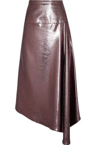 Roland Mouret - Piper Asymmetric Draped Lamé Midi Skirt - Purple - UK12