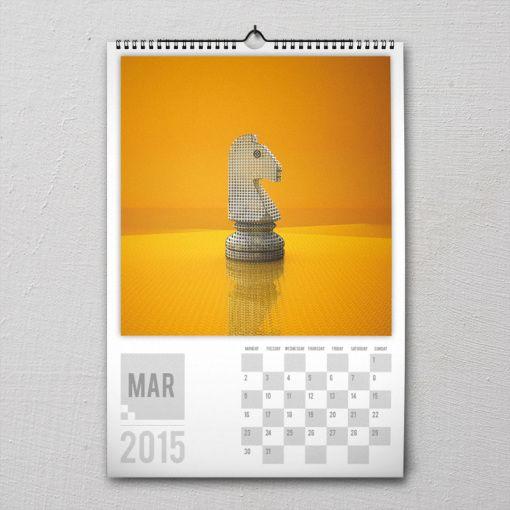 March 2015 #PremiumChessArtCalender #PremiumChess #chess #art #calender #kalender #LikeableDesign #illustration #3Dartwork #3Ddesign #chesspieces #chessart