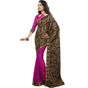 Shop Now - http://www.valehri.com/pink-golden-half-and-half-saree-with-blouse