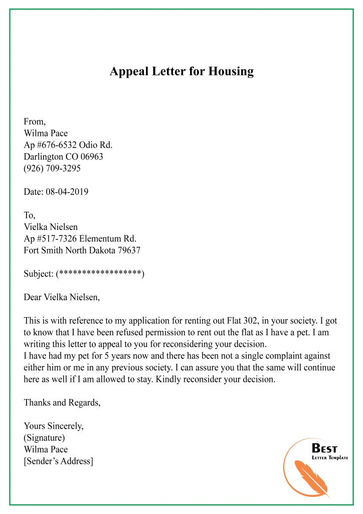 23  Free Appeal Letter Template  U2013 Format  Sample  U0026 Example